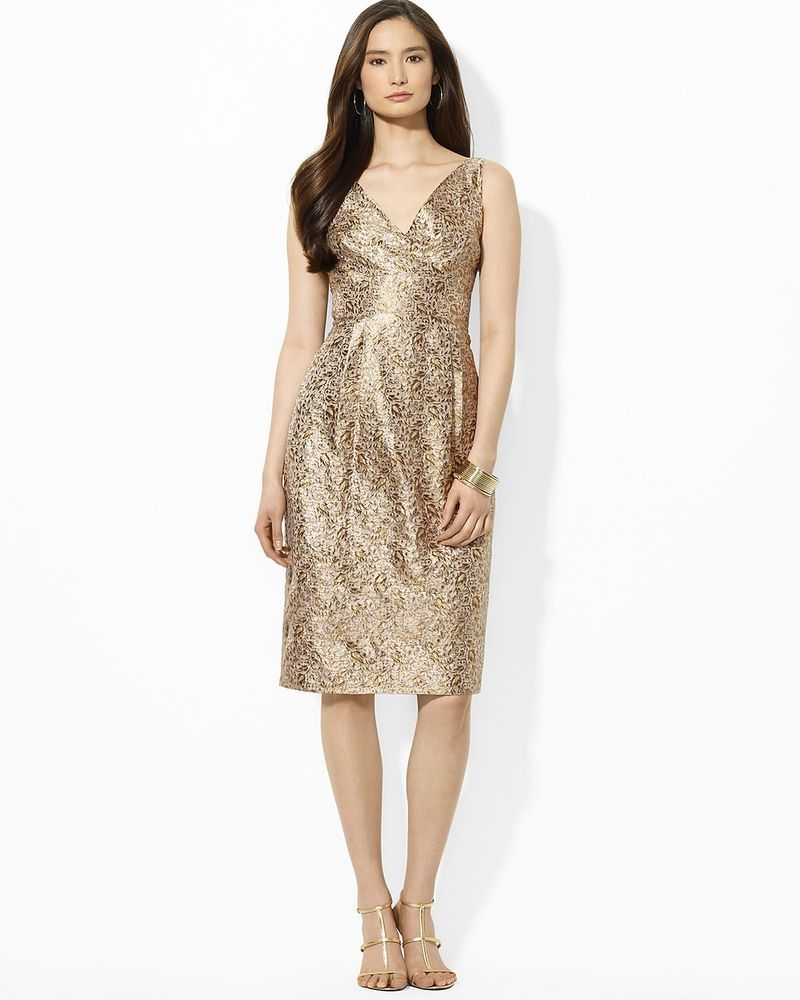 Ralph Lauren Metallic Jacquard V-Neck Sleeveless Cocktail Dress ...