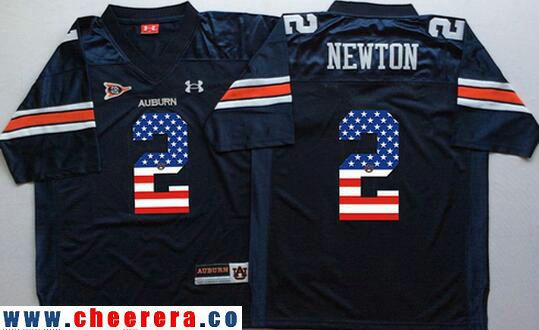 Men s Auburn Tigers Blue  2 Cam Newton Navy Blue USA Flag Fashion Stitched Under  Armour NCAA Jersey ccece1319