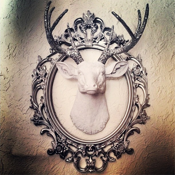 The Weston Stag Deer Head Faux Taxidermy White Resin Wsilver