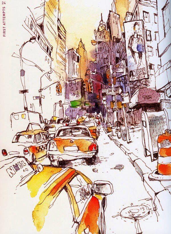 New York Urban Sketching Watercolor Sketch Sketch Book