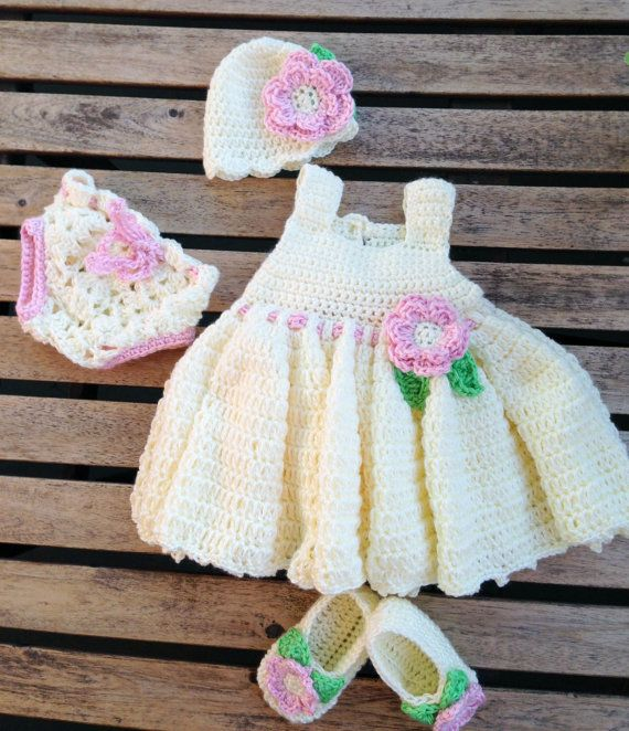 Crochet Baby Dress with Matching Hat 4c61c56b793a