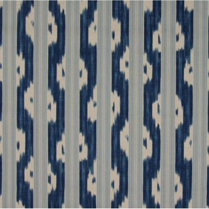 RM Coco Ikat Stripe Print In Porcelain   Home Decor Fabric
