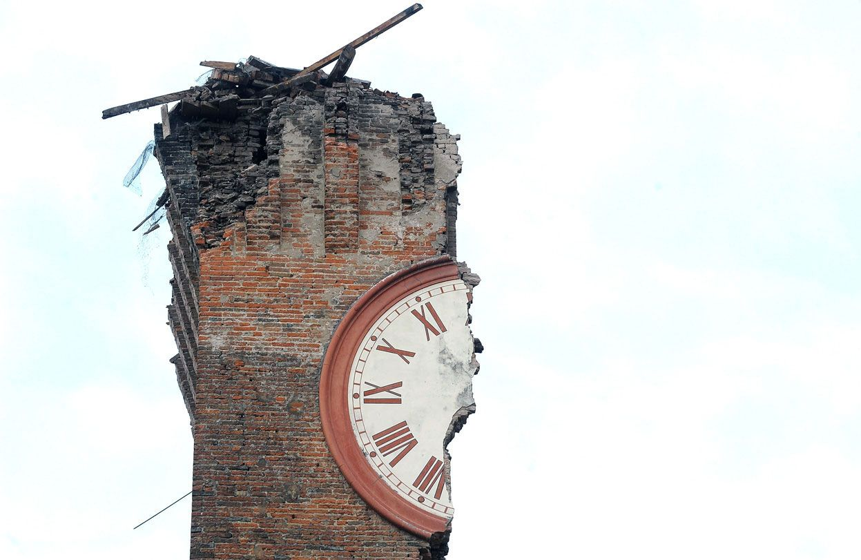 Half of a clock face on Modenesi's Towers of Finale Emilia, destroyed following a Magnitude 6.0 earthquake on May 20, 2012 in Ferrara, Italy.