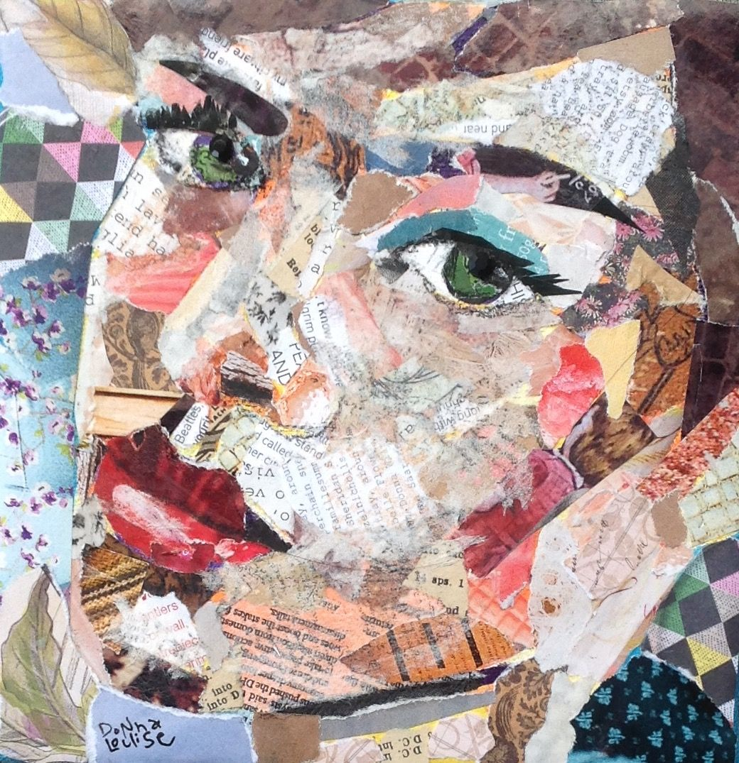 Torn Paper Collage Portrait In