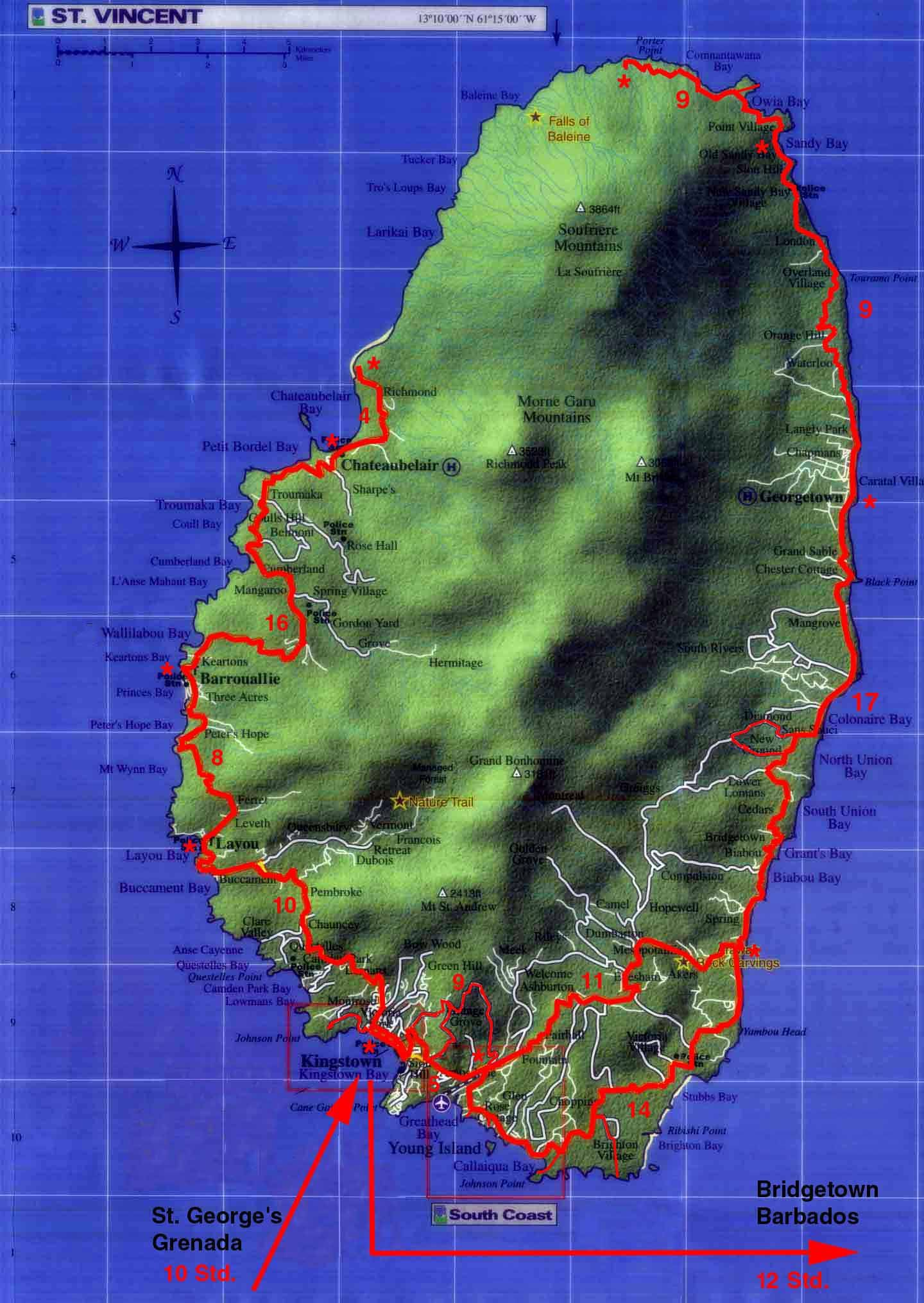St. Vincent map | ISLANDS ~Miles of Isles in 2018 | Pinterest | Map ...