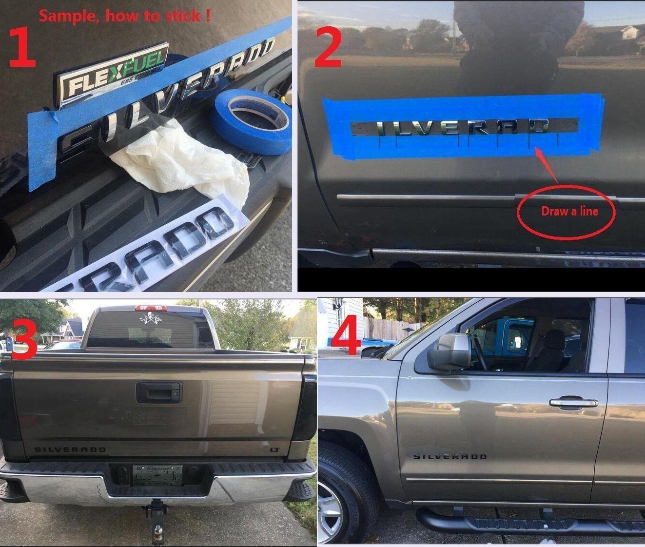 1x Black SIERRA Emblem Letter Badge Rear Tailgate Door Nameplate GMC