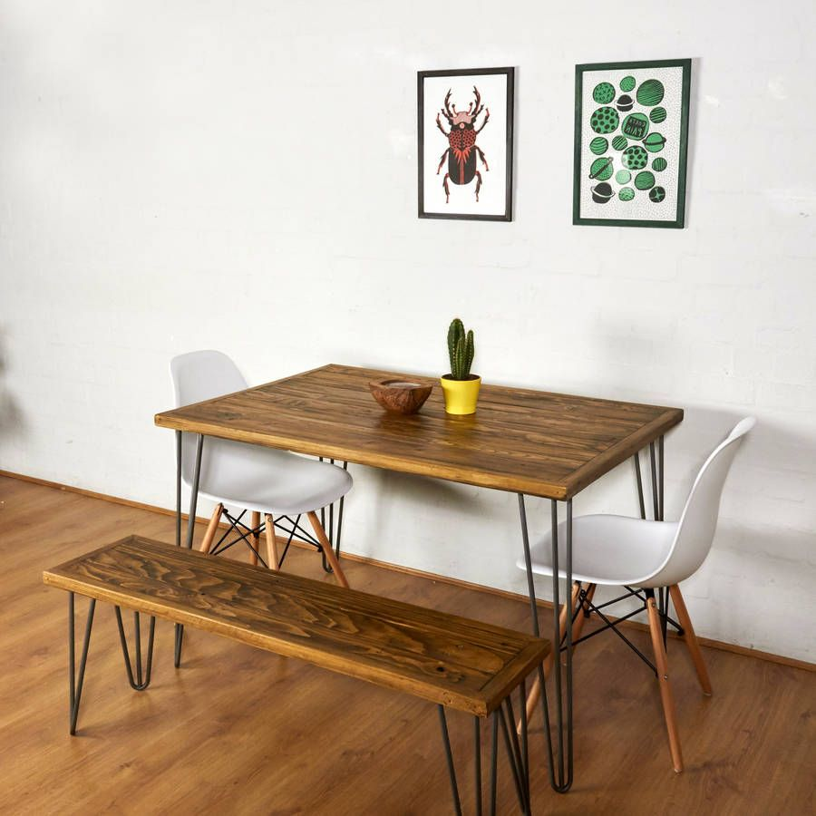 Reclaimed Pallet Dining Table And Bench Hairpin Legs