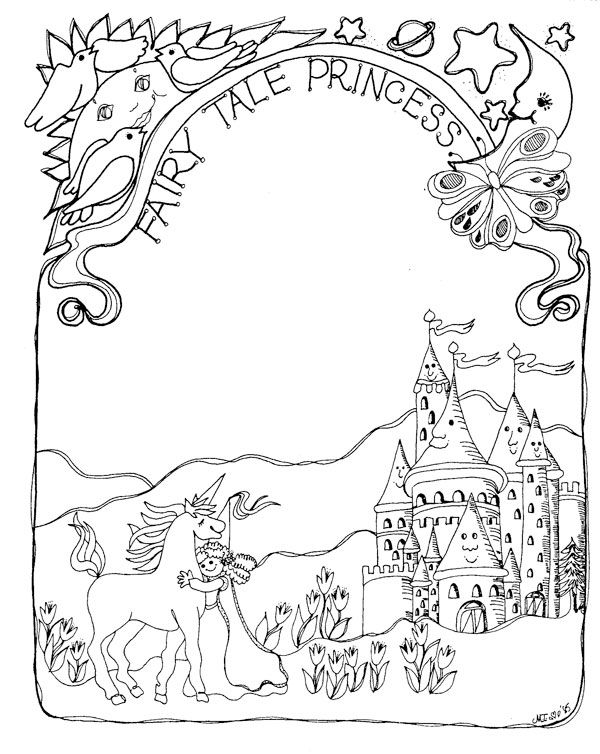 Fairy Tale Princess Coloring Page Cool Coloring Pages Pinterest