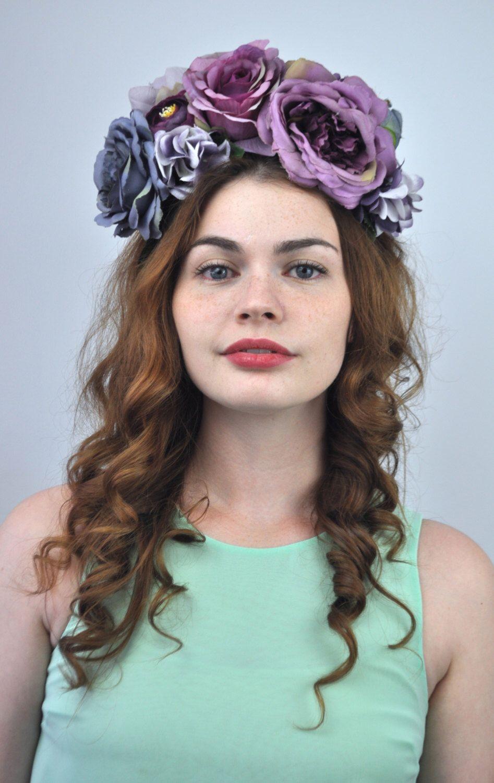 Luna Purple Flower Crown Headband Floral Headpiece Fall Flower