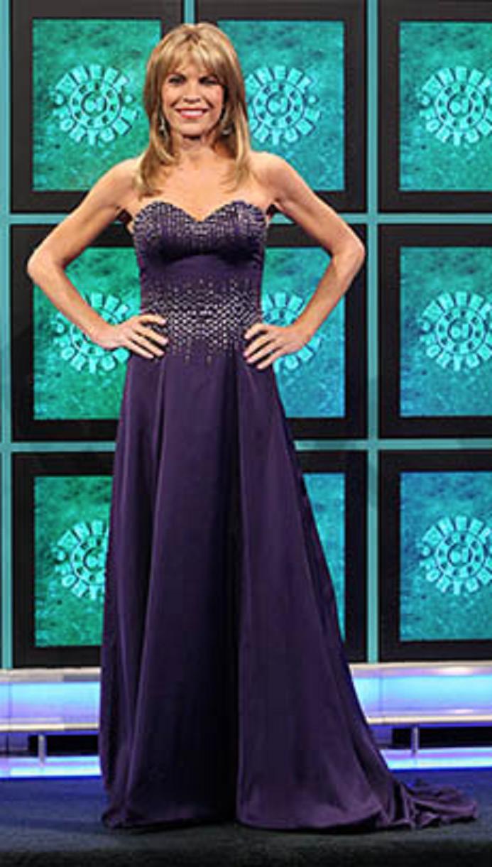 Vanna White Wears A Jovani 77488 Plum Strapless Satin A-Line Gown on ...