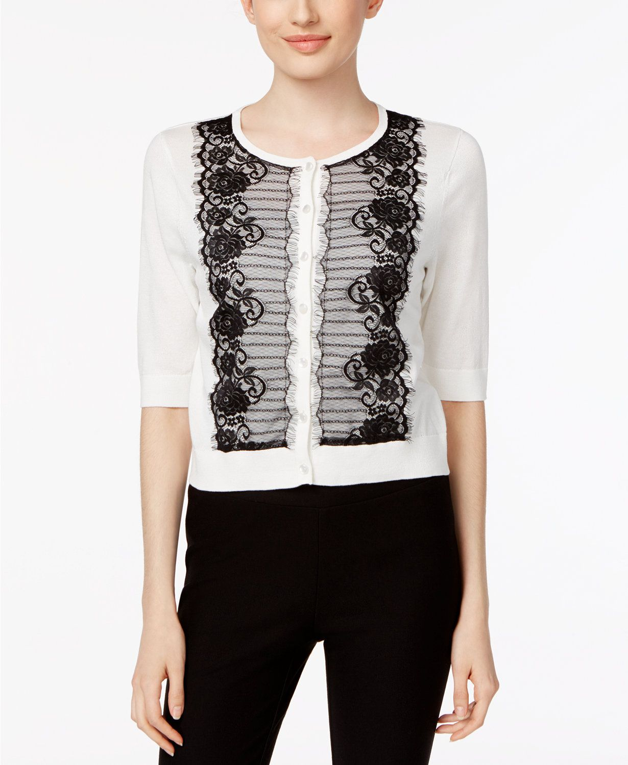 August Silk Contrast Lace-Trim Cardigan | macys.com | My Wish List ...