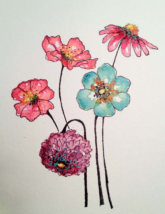 easy watercolor flowers google search painting