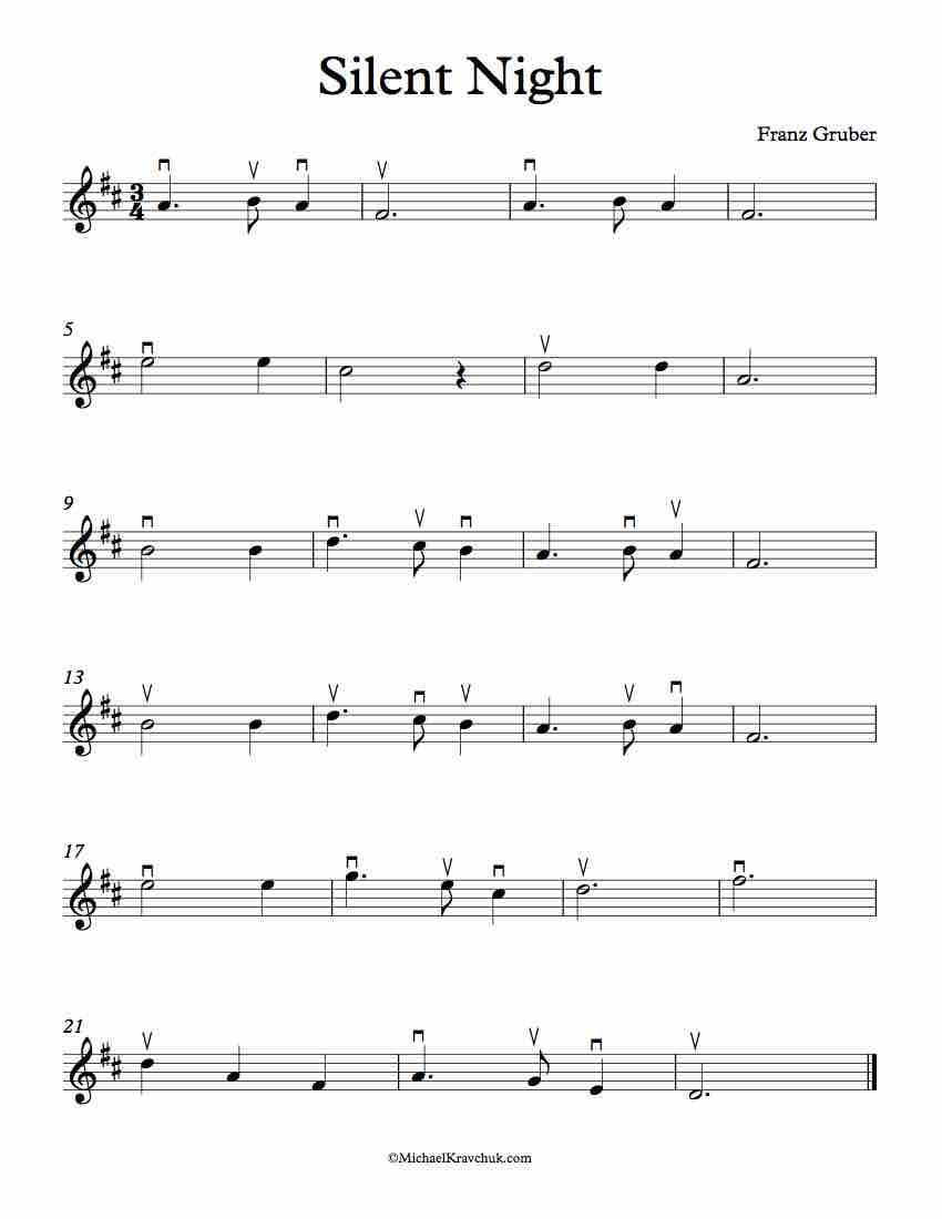Here is free violin sheet music for Silent Night in the keys of A