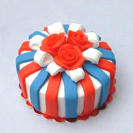 Red, White  Blue - dollhouse miniature cake by Blue Kitty Miniatures, via Flickr