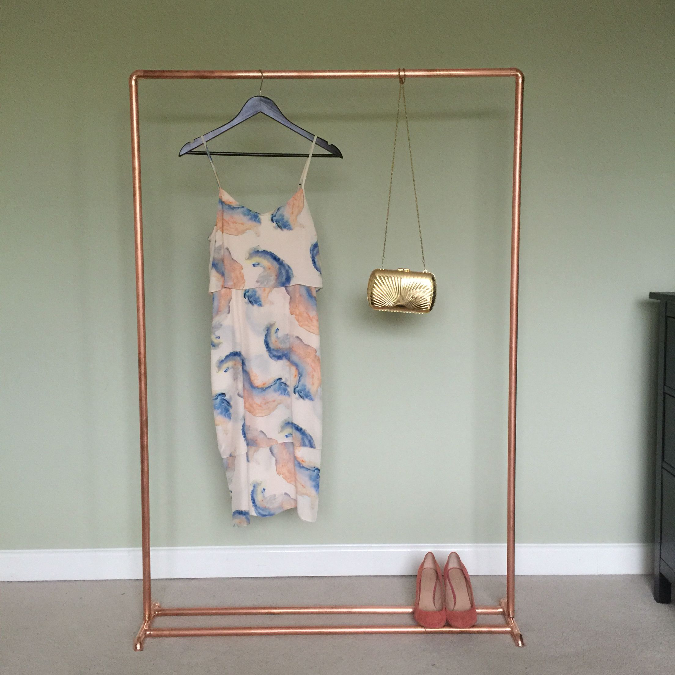 Copper Clothes Rail Rose Gold Industrial Clothing Rack By Hyland