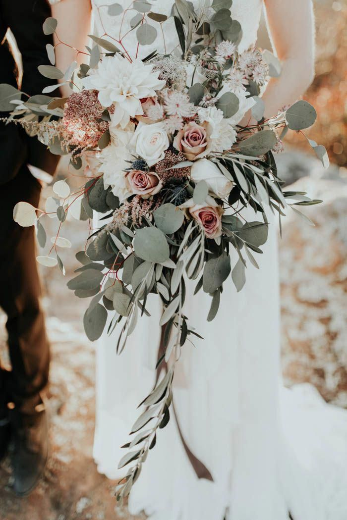 Rose Gold Wedding Inspiration at Petit Jean State Park   Junebug Weddings is part of Greenery wedding bouquet - Enjoy the rose gold accents, blush and white roses, and stunning view of Arkansas in this gorgeous wedding inspiration at Petit Jean State Park