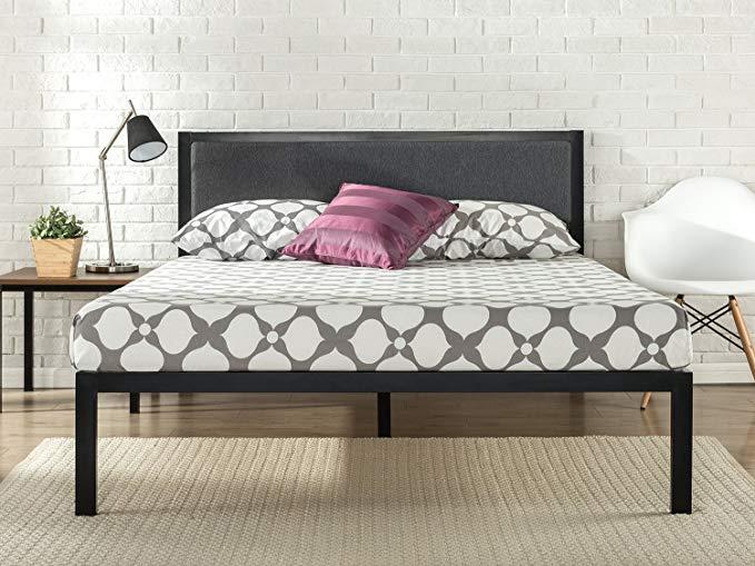 Amazon Com Zinus Korey 14 Inch Platform Metal Bed Frame With Upholstered Headboard Mattress Foundat Upholstered Headboard Metal Platform Bed Metal Bed Frame