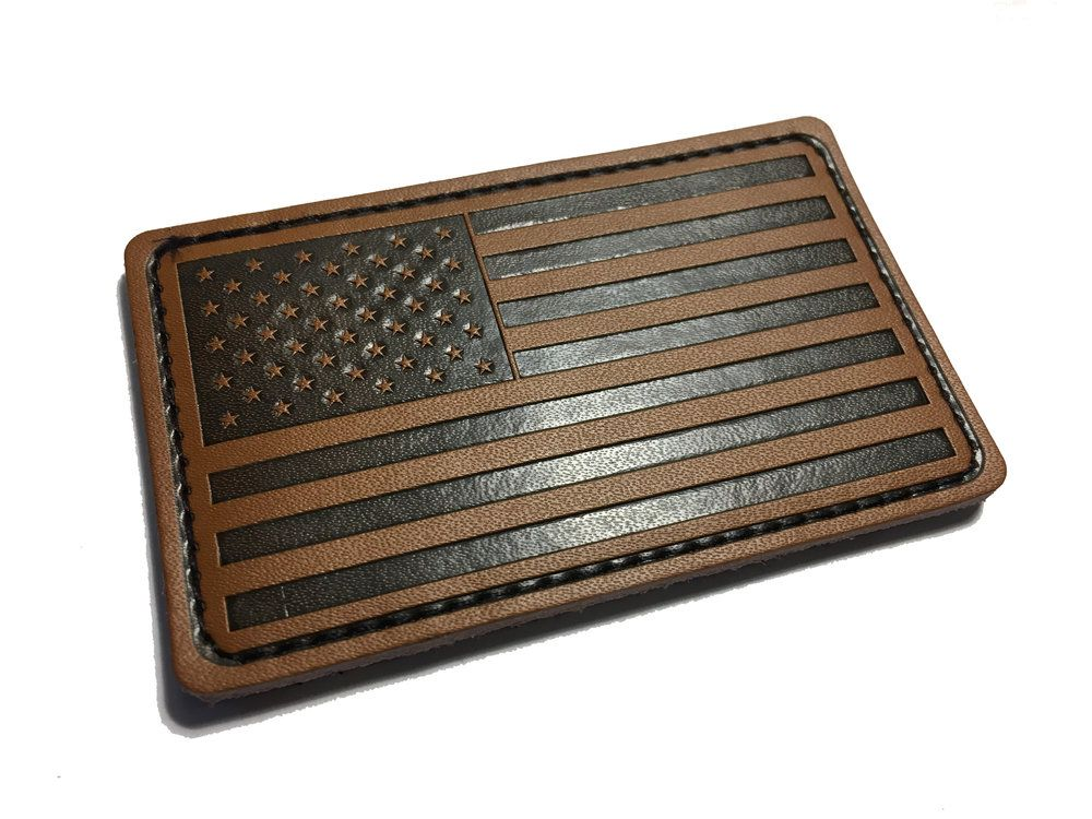 59599aded31d Genuine Leather American Flag patch 3x2
