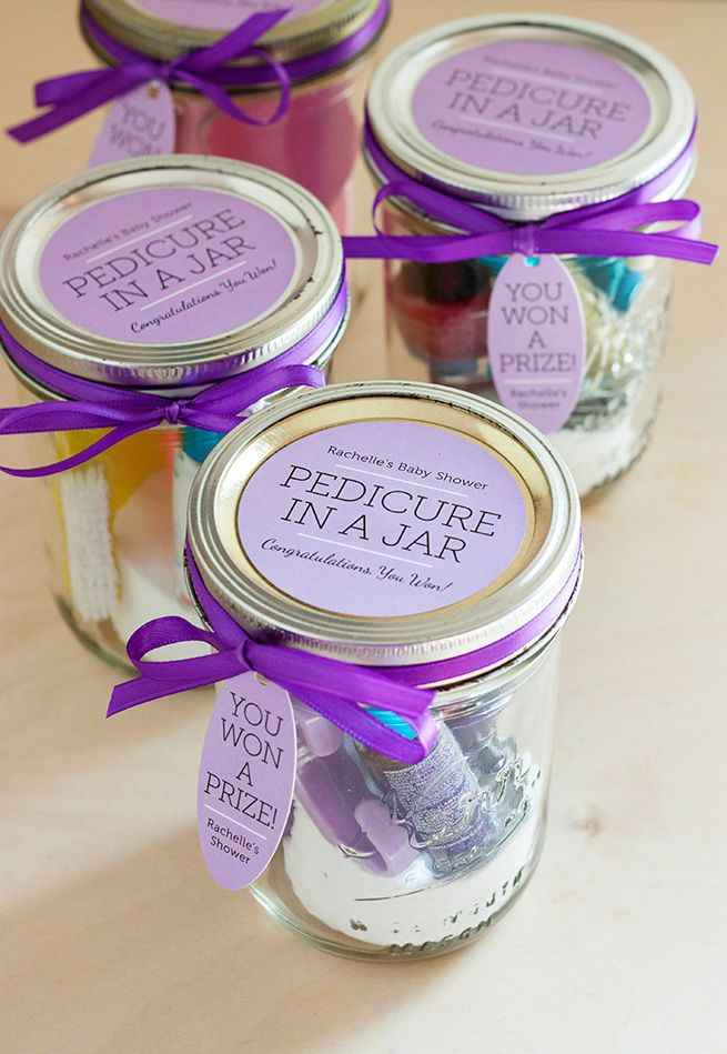 pedicure in a jar shower gift favors with green visions spa therapy sugar scrub body cream products inside gift tags labels