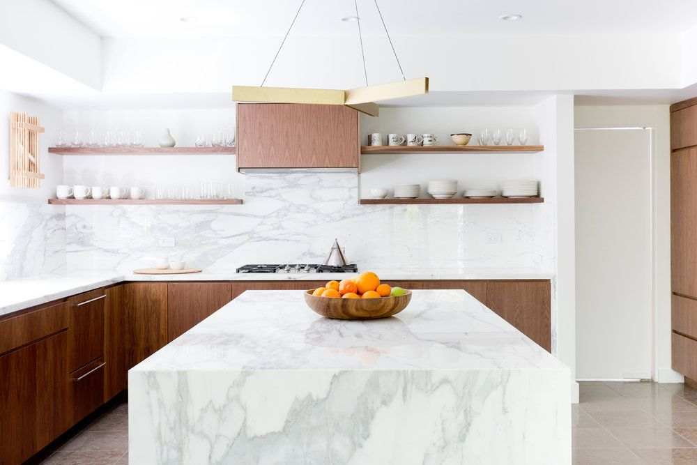 Modern Kitchen Walnut Cabinets Marble Counters California Cool Kitchen Floating Shelves Hood S Kitchen Backsplash Trends Backsplash Trends Kitchen Remodel