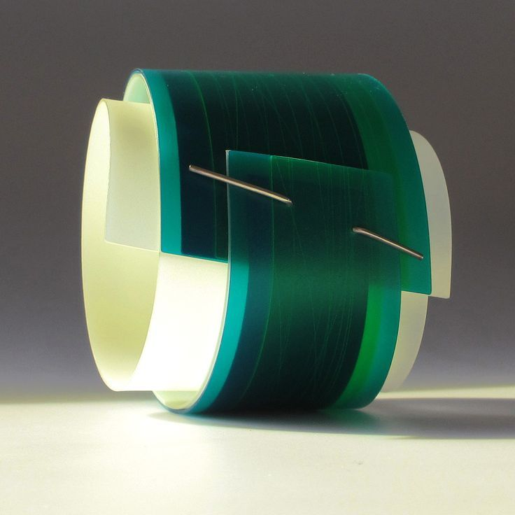 large green sculptural bangle | Contemporary Bangles by contemporary jewellery designer Gill Forsbrook