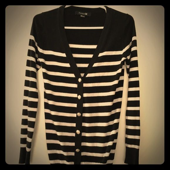 Forever 21 Striped Cardigan Black and white horizontal stripes, has military inspired button. Long enough to be worn with leggings. Forever 21 Sweaters Cardigans