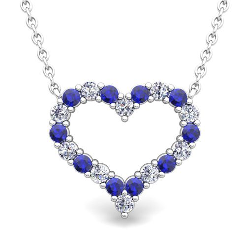 Pave diamond and sapphire heart necklace in 14k gold pendant this pave diamond and sapphire heart necklace in gold pendant this pave diamond and sapphire necklace is set in white or yellow gold heart pendant with a gold aloadofball Images