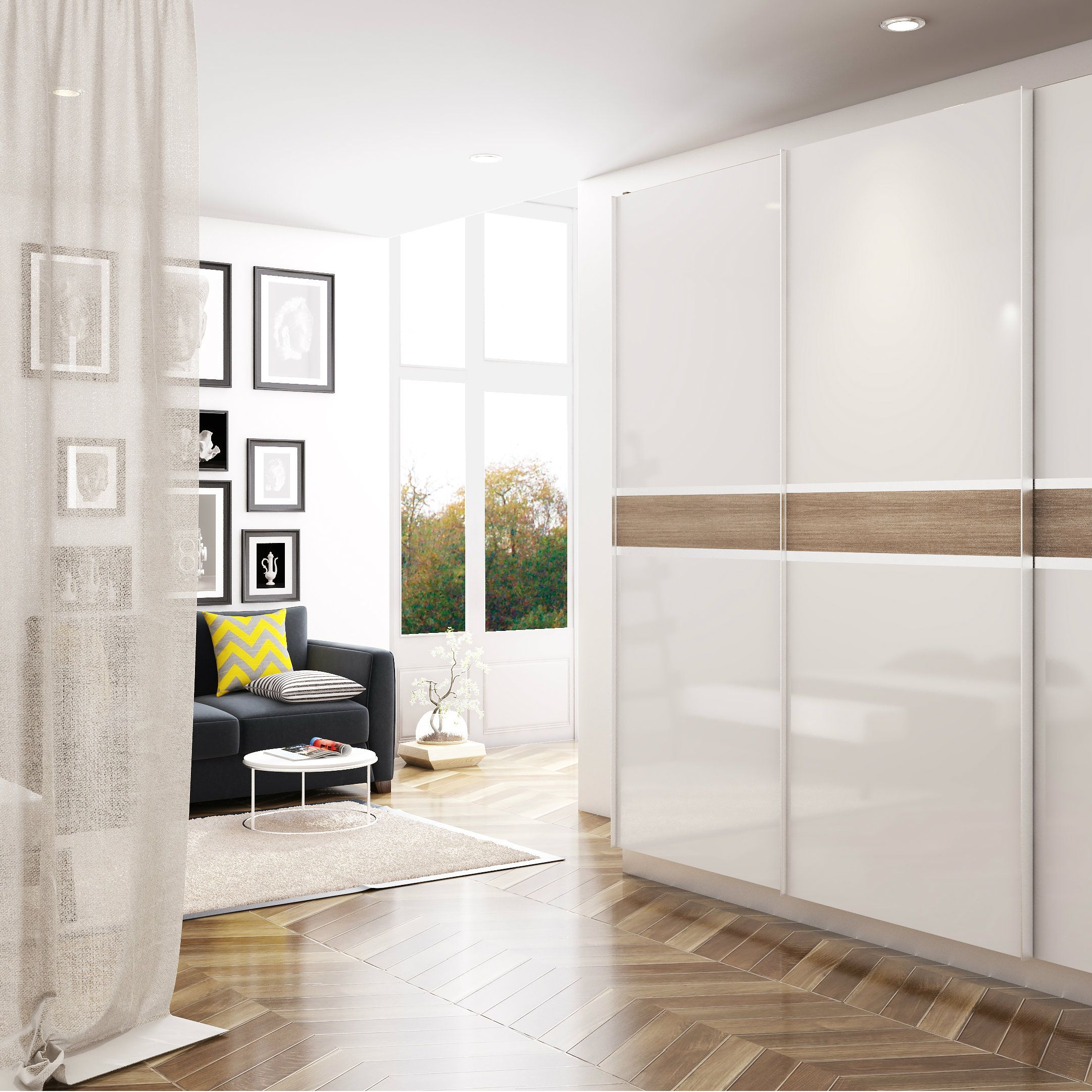 Glossy White Modular Wardrobe For Sophisticated Homes