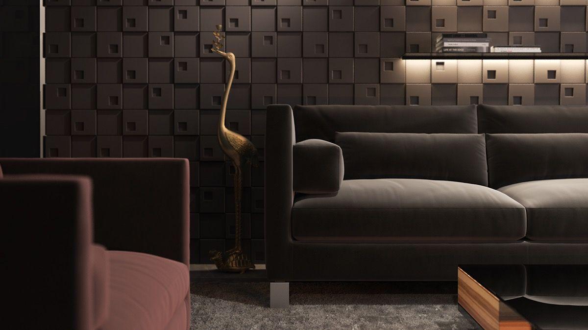 Textura de la pared Diseños para el salón: Ideas y Sugerencias