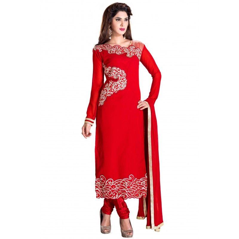 Eid Special Designer Red Georgette Embroidered Unstitched Churidar Suit-KFN02(ST- Fruit N Nut)