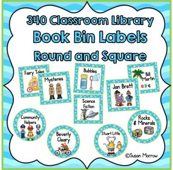 Classroom Library Labels: 424 Book Bin Labels & Matching