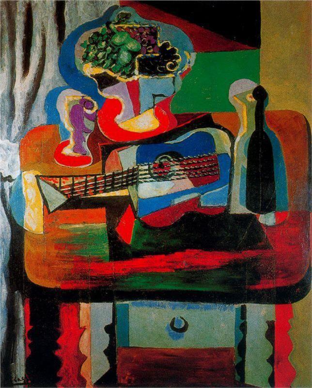 Pablo Picasso, Chitarra, bottiglia, frutta, piatto e bicchiere sul tavolo.