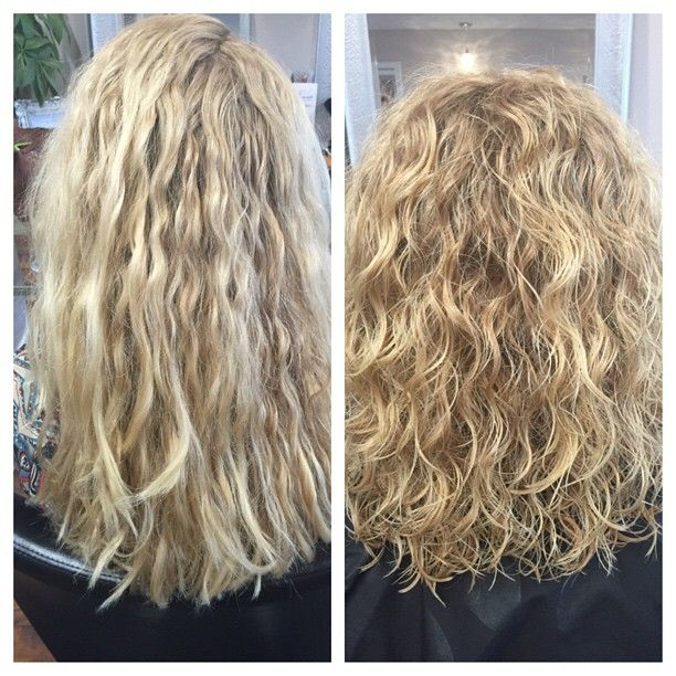 Before And After My Hair Was Fried From A Bad Perm But Thanks To Sarah It Looks Like My Hair Again Permed Hairstyles Body Wave Perm Wave Perm