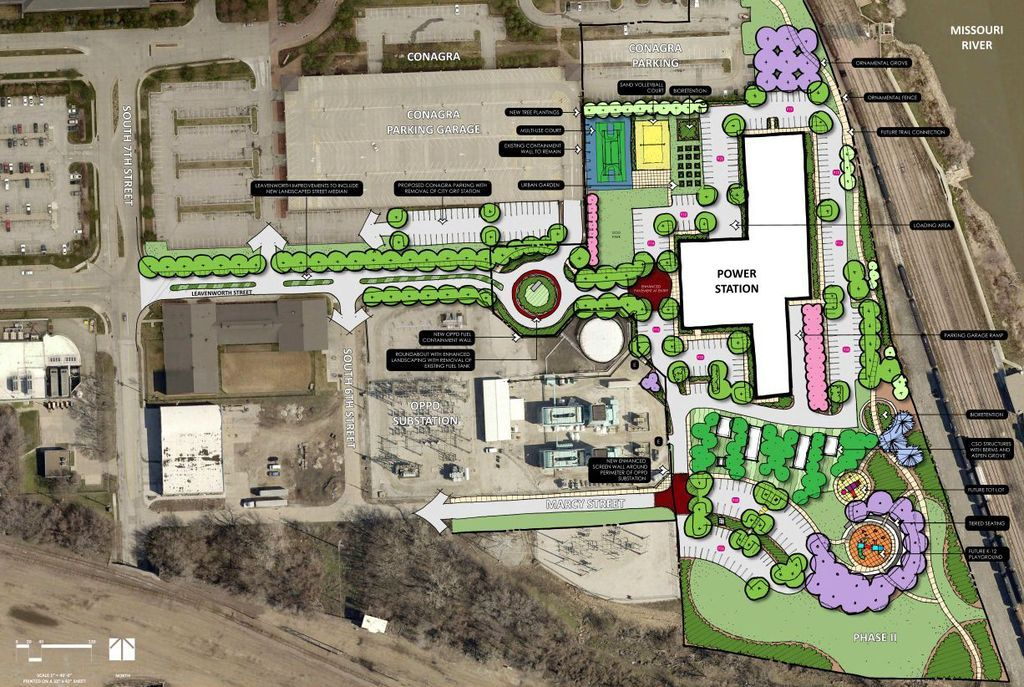 Site plan of the 'The Breakers,' a 214-unit apartment complex, an former Power plant south of downtown Omaha.