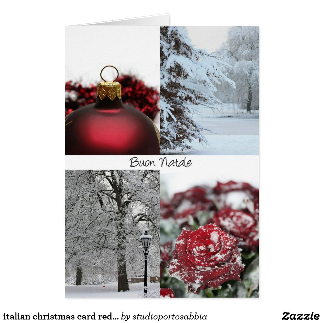 Italian Christmas Card Red Winter Snow Collage Christmas Cards