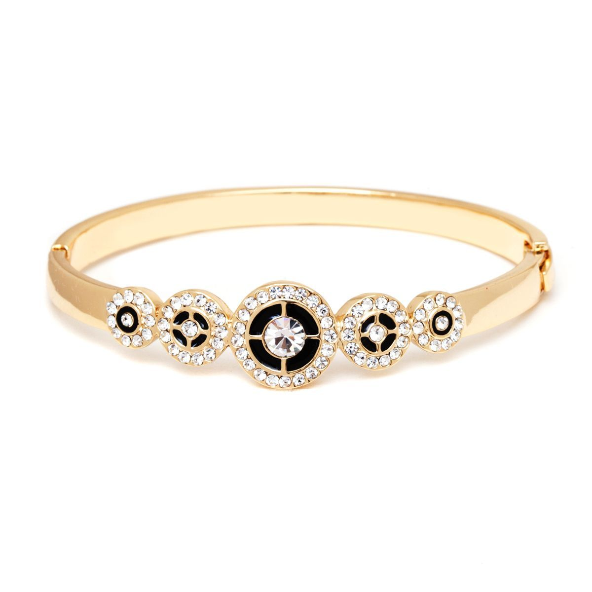 Peermont jewelry k goldplated gold and white circle bangle