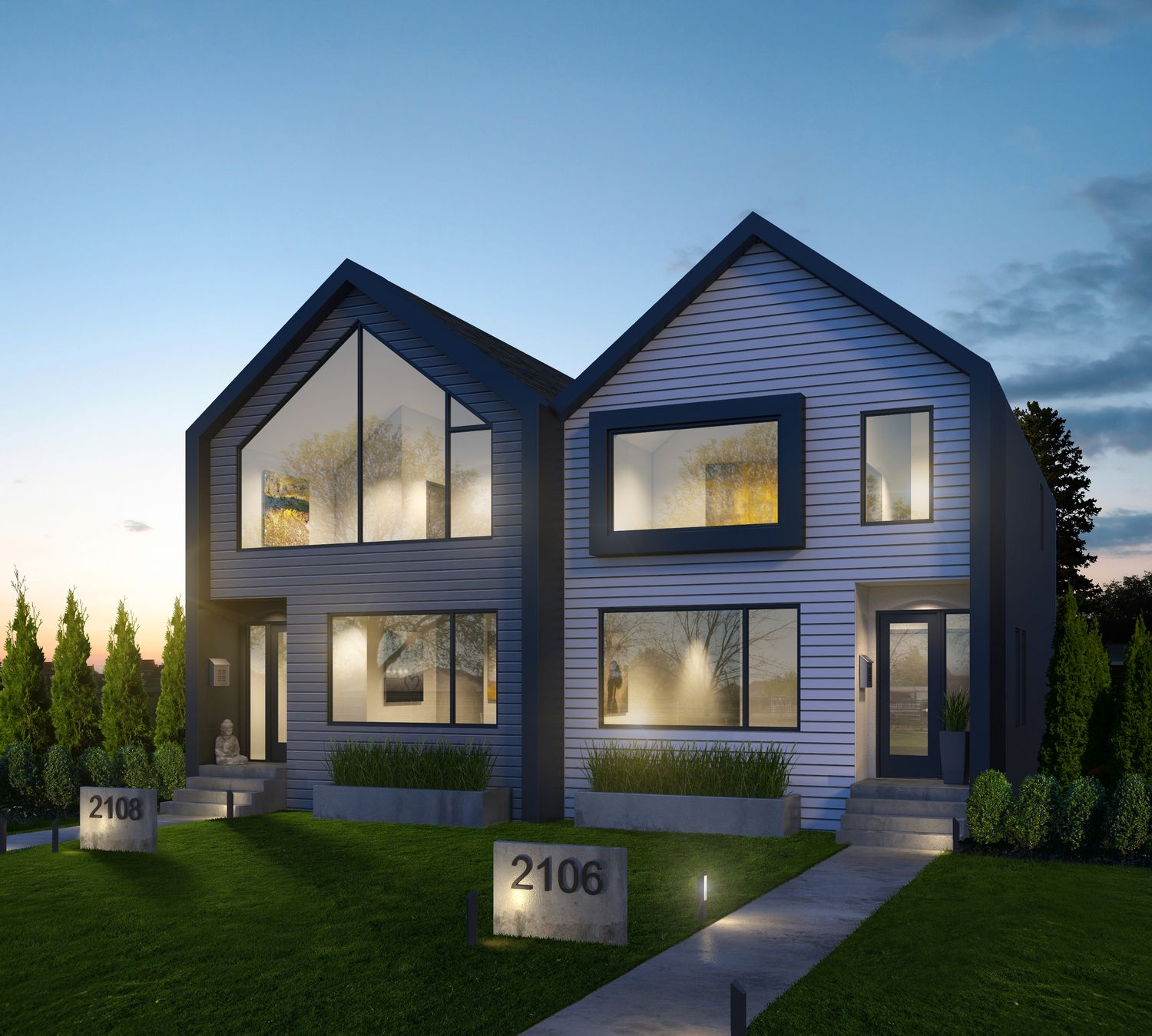 Contemporary Duplex House Design With A Plenty Of Overhang: Beyond Homes Http://www.beyondhomes.ca/ Together With