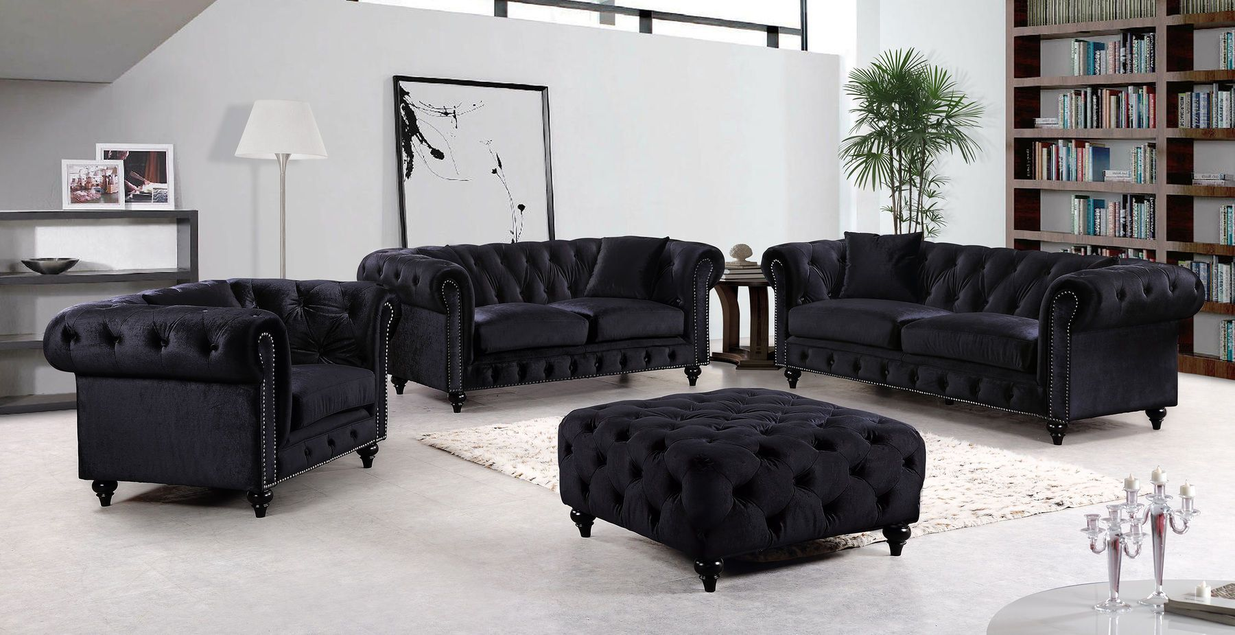 Best Meridian Chesterfield Black Velvet Fabric Rolled Arms 400 x 300