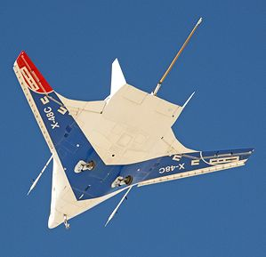 """""""Hybrid Wing"""" Uses Half the Fuel of a Standard Airplane  NASA has demonstrated a manufacturing breakthrough that will allow hybrid wing aircraft to be scaled up."""
