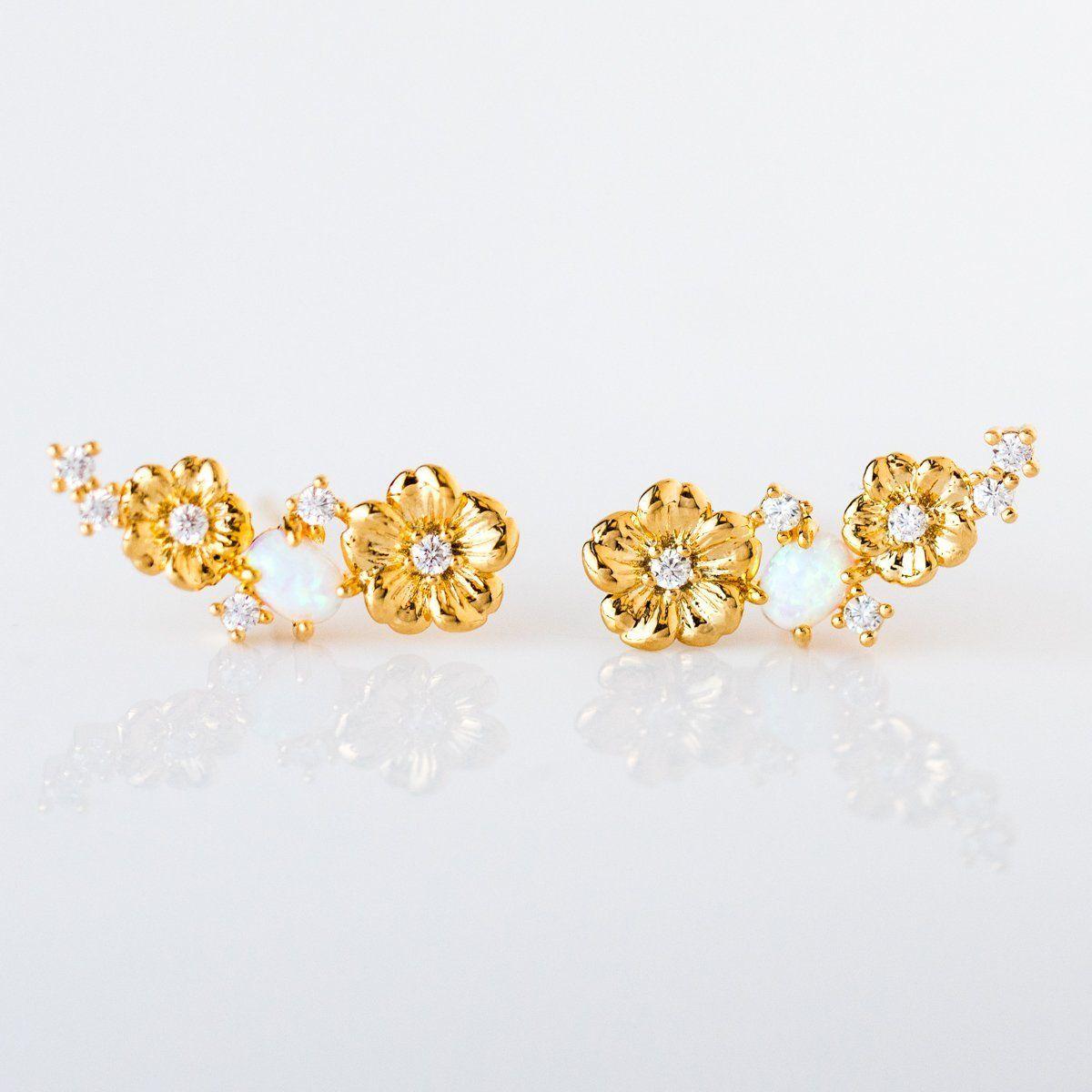 371d58817 Flower & CZ Opal Climber Earrings in 2019 | want! | Earrings, Tai ...