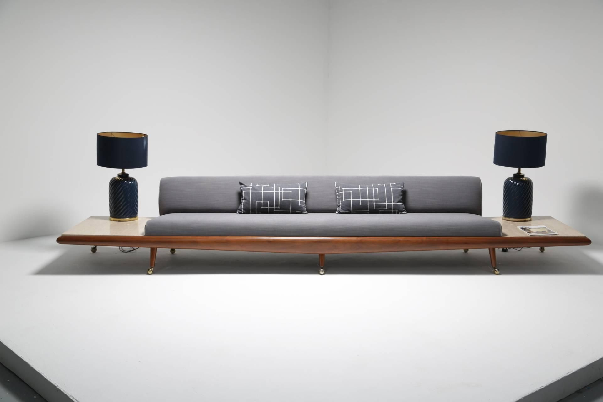Mid Century Sofa With Travertine Side Tables By Adrian Pearsall At