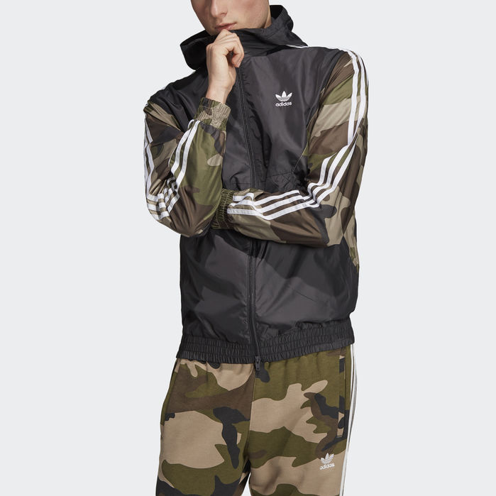 Camouflage Windbreaker Black XL Mens | Windbreaker, Adidas