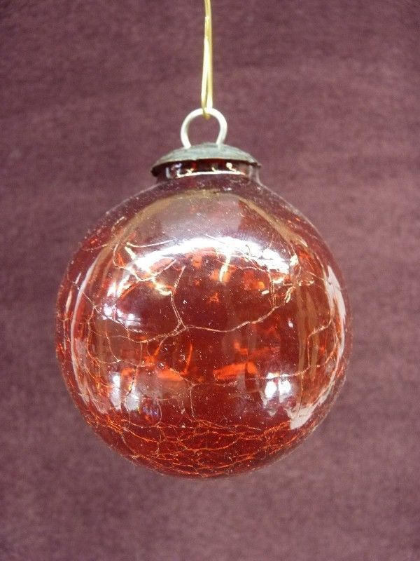 Midwest Kugel Ornament Are NOT antique. They are newer and made in India - Midwest Kugel Ornament Red Crackle BEAUTIFUL RARE 3
