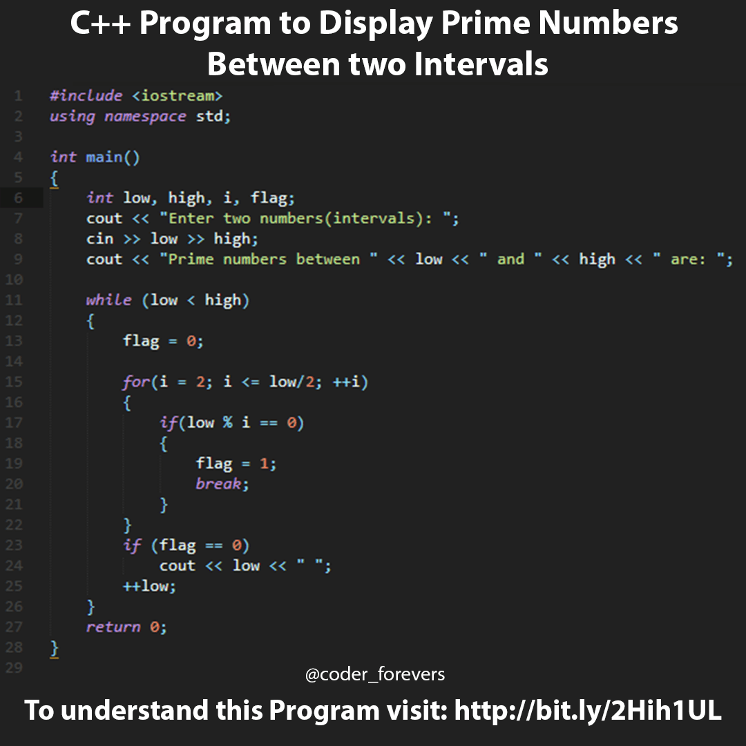 C++ Program to Display Prime Numbers Between Two Intervals