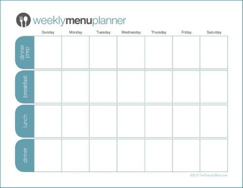 Click to Print: TPM One Week Menu Planner | Weekly menu planners ...