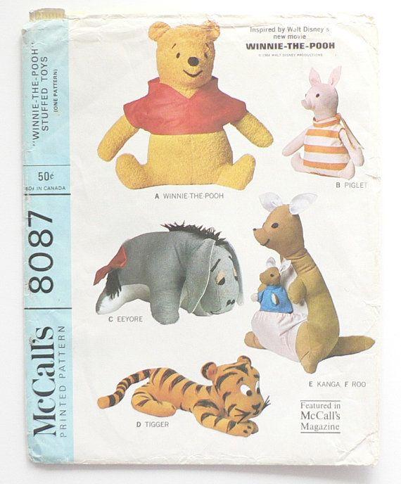 McCalls Pattern 8087 Winnie The Pooh Piglet Eeyore Kanga Roo and ...