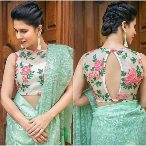 20+ Latest Floral Printed Saree Blouse Designs to try this year #blousedesignslatest