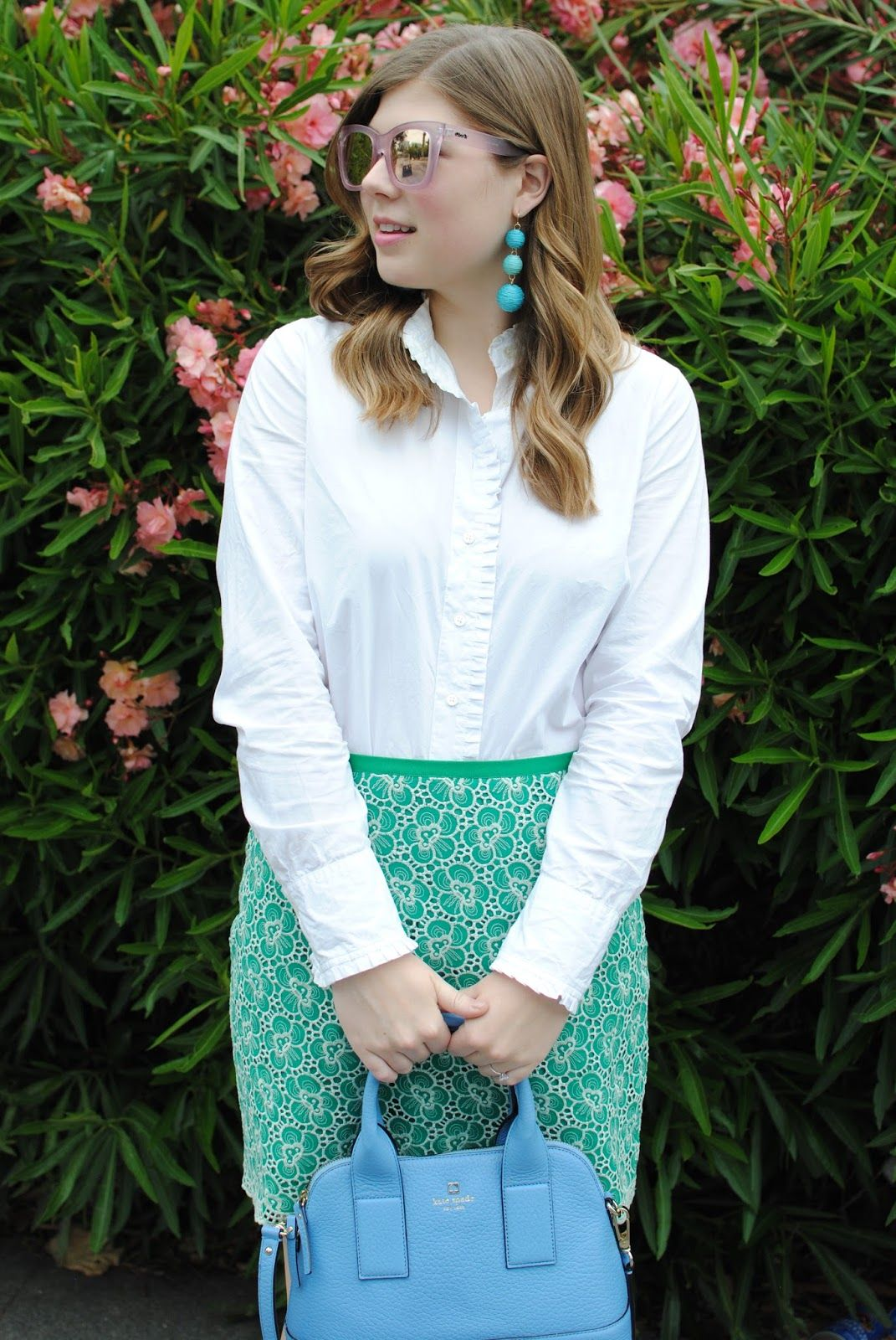8577fdebd0b1 emerald lace skirt + white ruffled oxford + pink quay after hours mirrored  sunglasses
