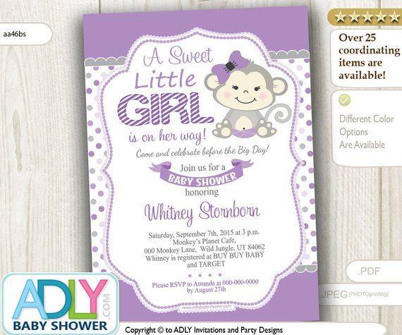 Purple Grey Monkey Baby Shower Invitation Card Cute Little