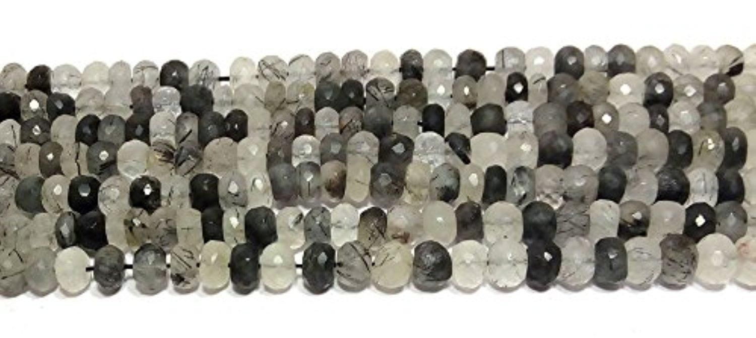 """natural black rutile 6-8mm rondelle faceted loose beads 8"""" 5 strand - Brought to you by Avarsha.com"""